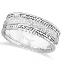 Fancy Carved Vintage Wedding Ring For Men 14k White Gold (7.5mm)