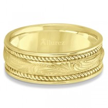 Fancy Carved Vintage Wedding Ring For Men 18k Yellow Gold (7.5mm)