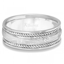 Fancy Carved Vintage Style Wedding Ring Band For Men Palladium (7.5mm)