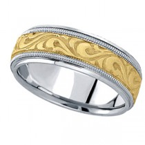 Antique Style Handmade Wedding Band in 14k Two Tone Gold (7.5mm)
