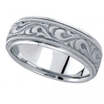 Antique Style Handmade Wedding Band in Platinum (7.5mm)