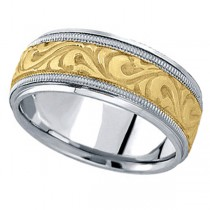 Antique Style Hand Made Wedding Band in 14k Two Tone Gold (9.5mm)
