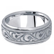Antique Style Hand Made Wedding Band in 14k White Gold (9.5mm)