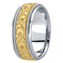 Antique Style Hand Made Wedding Band in 18k Two Tone Gold (9.5mm)