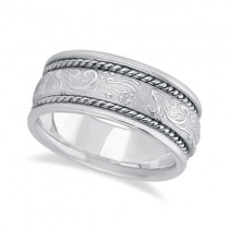 Men's Fancy Satin Finish Carved Wedding Ring 14k White Gold (8.5mm)