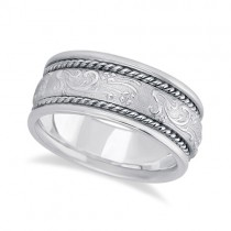 Men's Fancy Satin Finish Carved Wedding Band 18k White Gold (8.5mm)