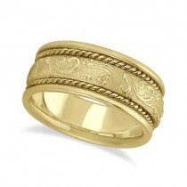 Men's Fancy Satin Finish Carved Wedding Band 18k Yellow Gold (8.5mm)