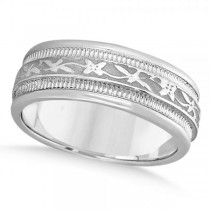 Flower Antique Style Wedding Ring Wide Band 14k White Gold 8mm