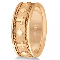 Handmade Wedding Band With Crosses in 14k Rose Gold (8.5mm)