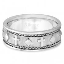 Handmade Wedding Band With Crosses in 14k White Gold (8.5mm)