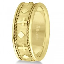 Handmade Wedding Band With Crosses in 14k Yellow Gold (8.5mm)