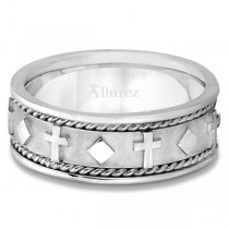 Handmade Wedding Band With Crosses in 18k White Gold (8.5mm)|escape