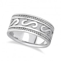 Men's Celtic Irish Hand Made Wedding Ring 14k White Gold (10mm)