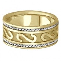 Mens Celtic Irish Handmade Wedding Band 18k Two-Tone Gold (10mm)