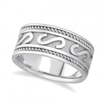 Men's Celtic Irish Hand Made Wedding Band 18k White Gold (10mm)