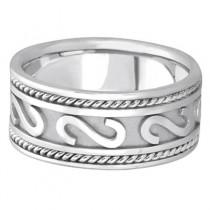 Men's Celtic Irish Hand Made Rope Wedding Band Palladium (10mm)