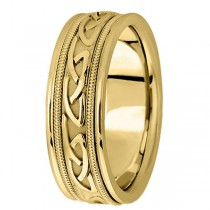 Hand Made Celtic Wedding Band in 18k Yellow Gold (6mm)