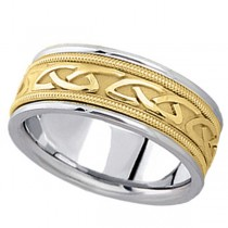 Hand Made Celtic Wedding Band in 14k Two Tone Gold (8mm)