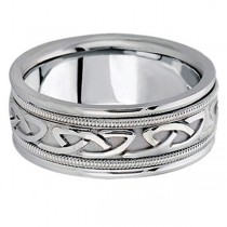 Hand Made Celtic Wedding Band in 18k White Gold (8mm)|escape