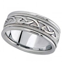 Hand Made Celtic Wedding Band in Platinum for Men (8mm)
