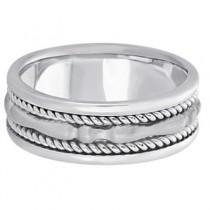 Men's Carved Handmade Wedding Ring Band in 14k White Gold (8mm)