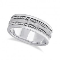 Men's Carved Handmade Wedding Ring Band in Palladium (8mm)