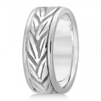 Men's Carved Leaf Antique Style Wedding Band 14k White Gold 8mm