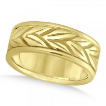 Men's Carved Leaf Antique Style Wedding Band 14k Yellow Gold 8mm