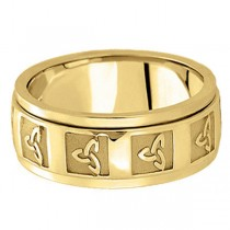 Hand Made Celtic Wedding Band in 14k Yellow Gold (10mm)