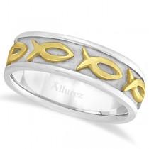Mens Ichthus Christ Fish Symbol Wedding Ring Band 14k Two-Tone Gold (7mm)