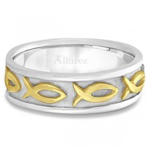 Mens Ichthus Christ Fish Symbol Wedding Ring Band 14k Two-Tone Gold (7mm)