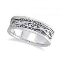Men's Irish Handmade Celtic Wedding Ring 14k White Gold (7mm)