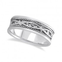 Men's Irish Handmade Celtic Wedding Band 18k White Gold (7mm)