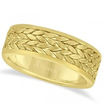 Men's Modern Braided Handwoven Wedding Ring in 14k Yellow Gold (8mm)