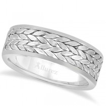 Men's Modern Handwoven Braided Wedding Band in 18k White Gold (8mm)