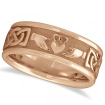 Engravable Irish Celtic Knot Claddagh Wedding Band 14k Rose Gold