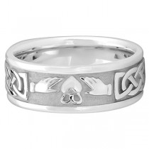 Engravable Irish Celtic Knot Claddagh Wedding Band 14k White Gold