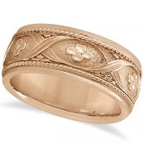 Flower Design Hand-Carved Eternity Wedding Band in 14k Rose Gold