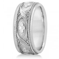 Flower Design Hand-Carved Eternity Wedding Band in 14k White Gold