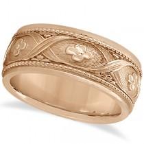 Flower Design Hand-Carved Eternity Wedding Band in 18k Rose Gold
