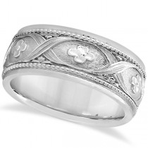Flower Design Hand-Carved Eternity Wedding Band in 18k White Gold