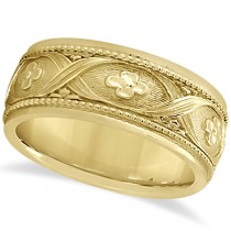 Flower Design Hand-Carved Eternity Wedding Band in 18k Yellow Gold