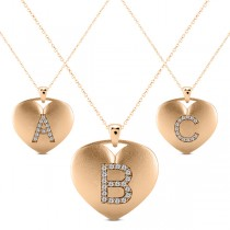 Heart-Shape Diamond Block Letter Initial Necklace in 14k Rose Gold