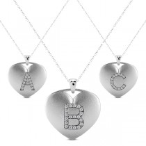 Heart-Shape Diamond Block Letter Initial Necklace in 14k White Gold