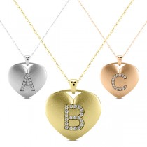 Heart-Shape Diamond Block Letter Initial Necklace in 14k White Gold|escape