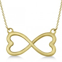 Ladies Heart Shaped Infinity Pendant Necklace in 14K Yellow Gold