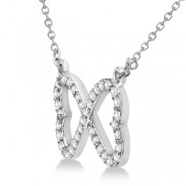 Pave Infinity Heart Diamond Pendant Necklace 14k White Gold (0.39ct)|escape