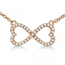 Pave Infinity Heart Diamond Pendant Necklace 18k Rose Gold (0.39ct)
