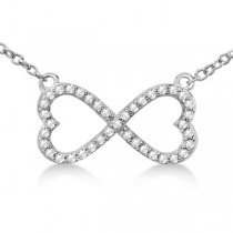 Pave Infinity Heart Diamond Pendant Necklace 18k White Gold (0.39ct)
