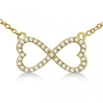 Pave Infinity Heart Diamond Pendant Necklace 18k Yellow Gold (0.39ct)